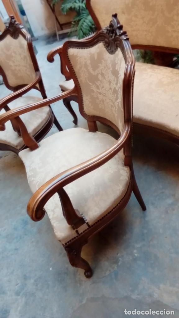 Antigüedades: juego de sillones isabelinos-5 piezas- - Foto 9 - 226634455