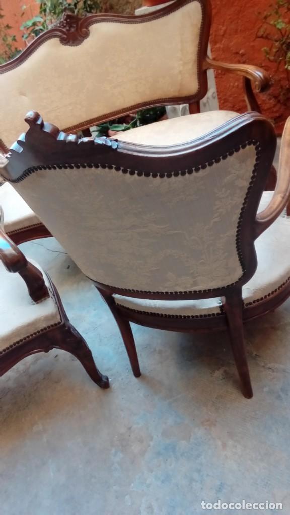 Antigüedades: juego de sillones isabelinos-5 piezas- - Foto 10 - 226634455