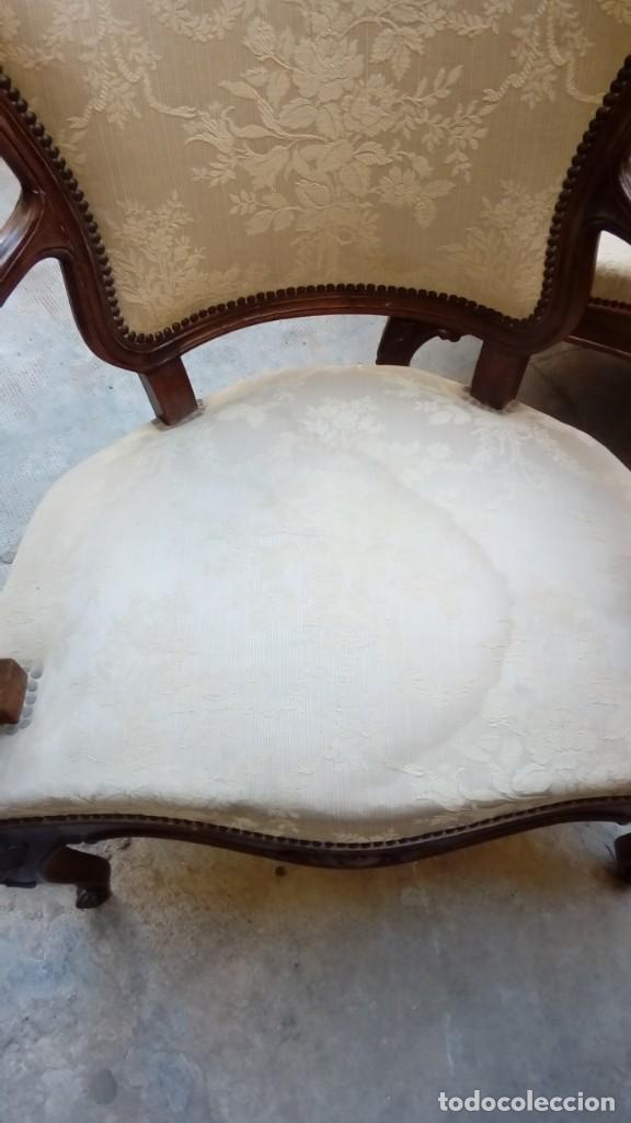 Antigüedades: juego de sillones isabelinos-5 piezas- - Foto 11 - 226634455