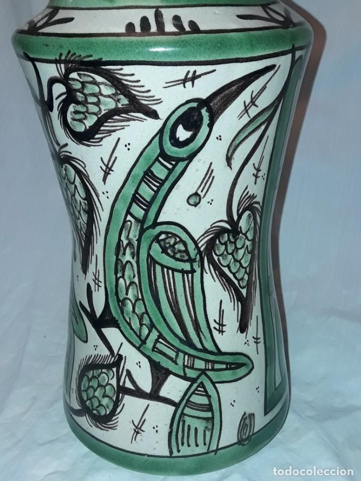 Antigüedades: Espléndido antiguo gran tarro albarelo con tapa cerámica Domingo Punter Teruel R -11 36cm - Foto 2 - 226644780
