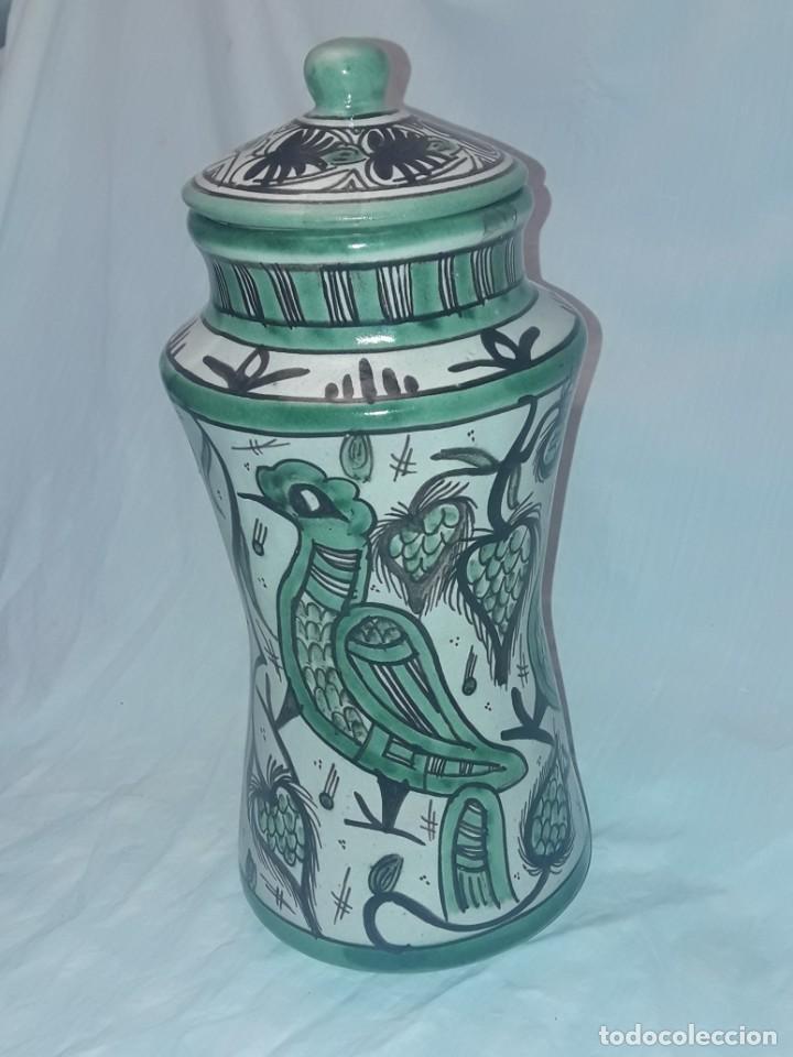 Antigüedades: Espléndido antiguo gran tarro albarelo con tapa cerámica Domingo Punter Teruel R -11 36cm - Foto 3 - 226644780