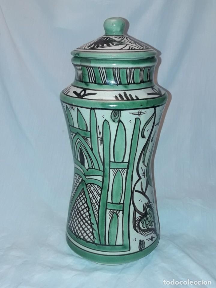 Antigüedades: Espléndido antiguo gran tarro albarelo con tapa cerámica Domingo Punter Teruel R -11 36cm - Foto 4 - 226644780