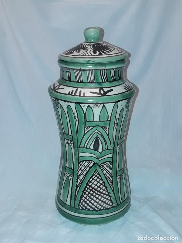 Antigüedades: Espléndido antiguo gran tarro albarelo con tapa cerámica Domingo Punter Teruel R -11 36cm - Foto 5 - 226644780