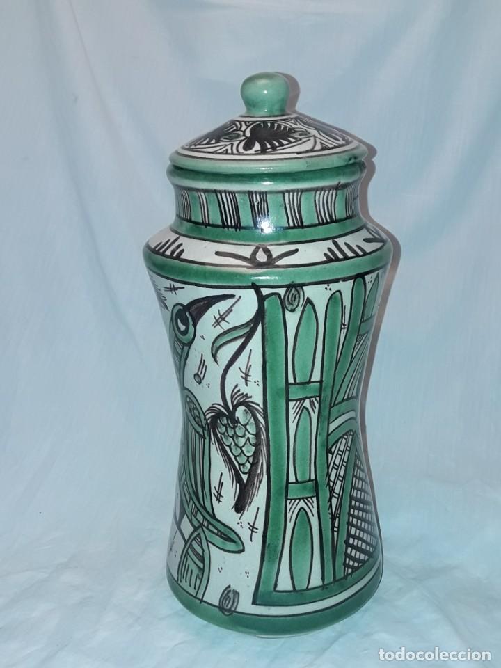 Antigüedades: Espléndido antiguo gran tarro albarelo con tapa cerámica Domingo Punter Teruel R -11 36cm - Foto 6 - 226644780