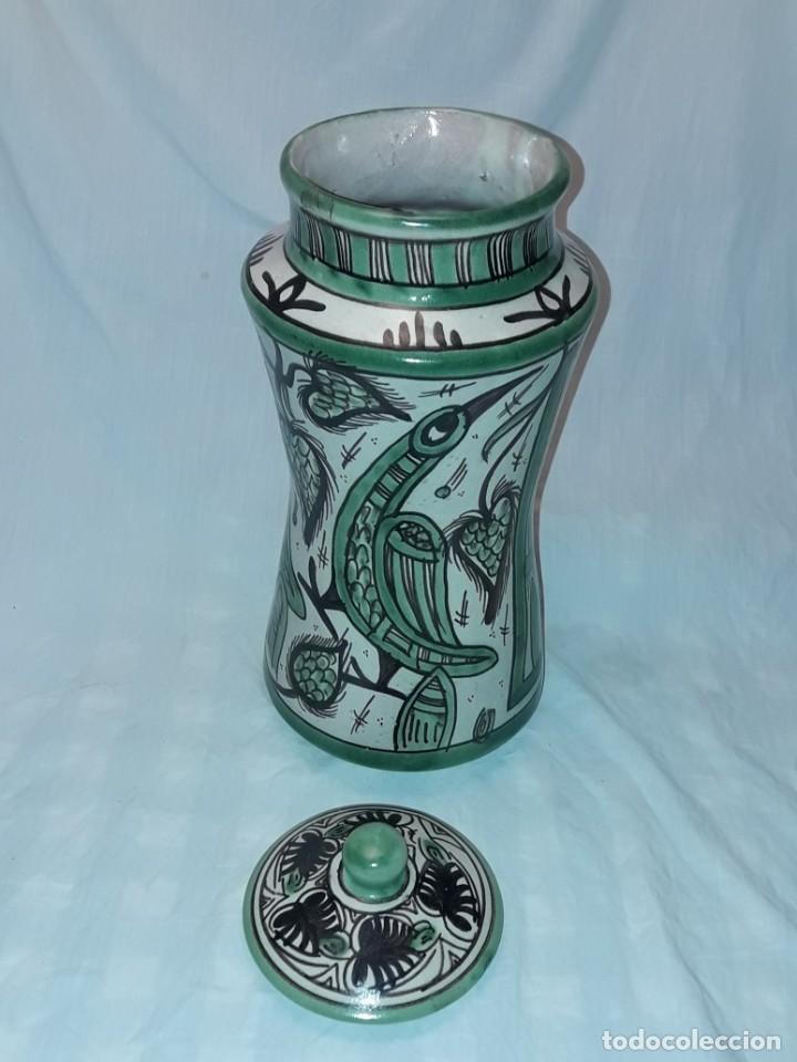 Antigüedades: Espléndido antiguo gran tarro albarelo con tapa cerámica Domingo Punter Teruel R -11 36cm - Foto 7 - 226644780