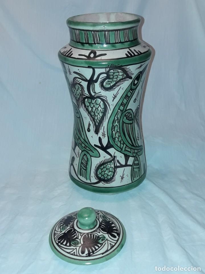 Antigüedades: Espléndido antiguo gran tarro albarelo con tapa cerámica Domingo Punter Teruel R -11 36cm - Foto 8 - 226644780