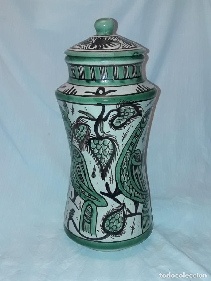Antigüedades: Espléndido antiguo gran tarro albarelo con tapa cerámica Domingo Punter Teruel R -11 36cm - Foto 9 - 226644780