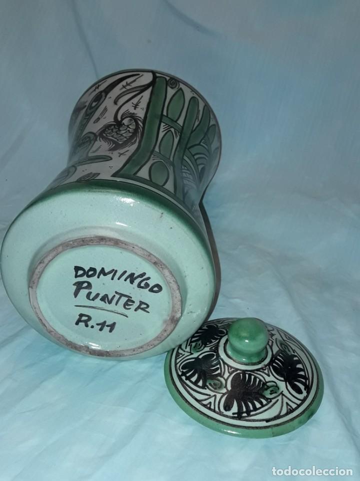 Antigüedades: Espléndido antiguo gran tarro albarelo con tapa cerámica Domingo Punter Teruel R -11 36cm - Foto 10 - 226644780