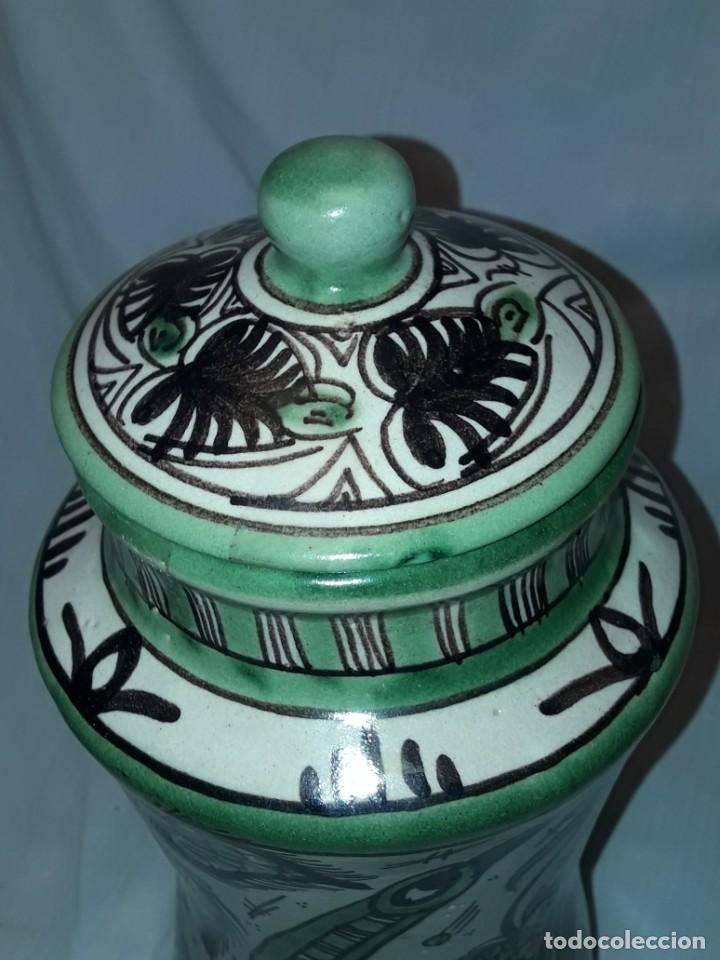 Antigüedades: Espléndido antiguo gran tarro albarelo con tapa cerámica Domingo Punter Teruel R -11 36cm - Foto 12 - 226644780