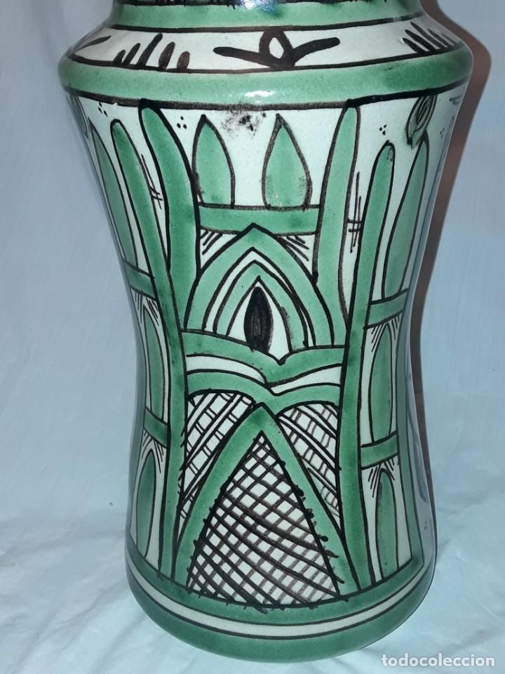 Antigüedades: Espléndido antiguo gran tarro albarelo con tapa cerámica Domingo Punter Teruel R -11 36cm - Foto 13 - 226644780