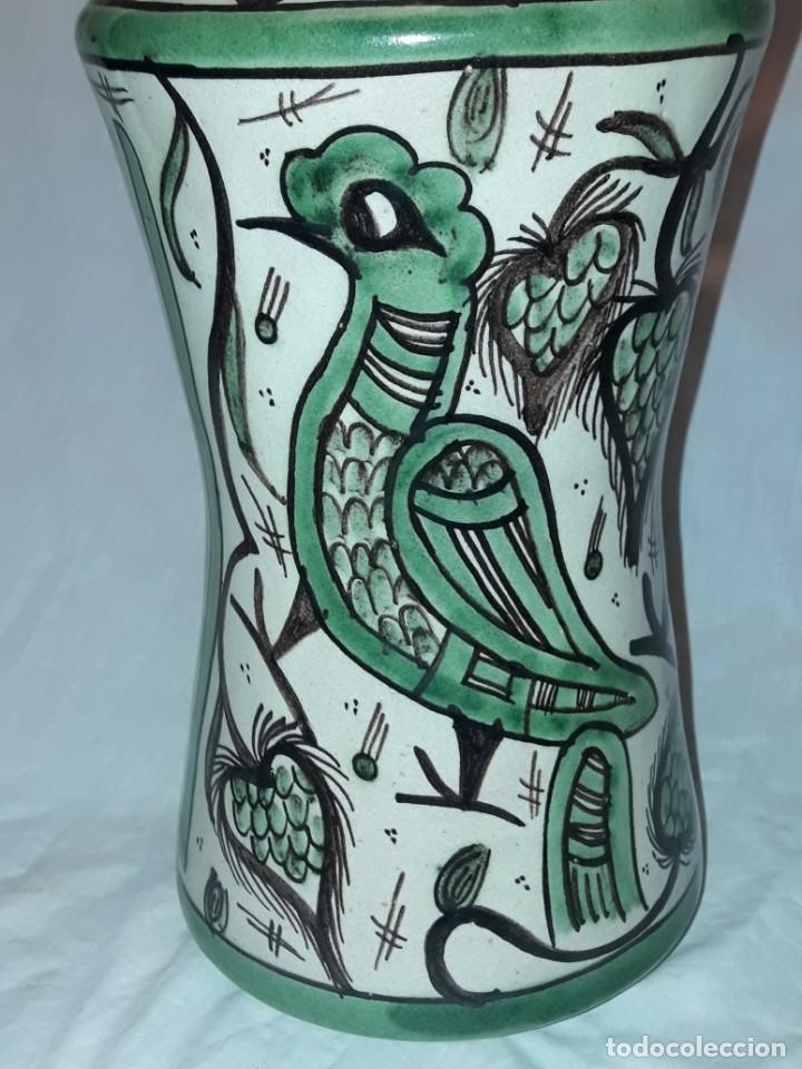 Antigüedades: Espléndido antiguo gran tarro albarelo con tapa cerámica Domingo Punter Teruel R -11 36cm - Foto 14 - 226644780