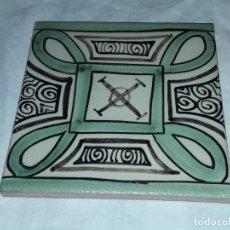 Antigüedades: PRECIOSO AZULEJO CERÁMICA DOMINGO PUNTER TERUEL 13 X13. Lote 226646605