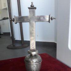 Antigüedades: CRUZ PROCESIONAL EN PLATA DE LEY ESPAÑOLA DE SIGLO XVII. Lote 226751007