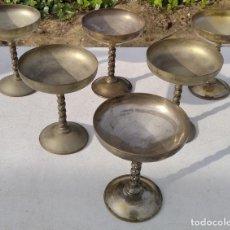 Antigüedades: JUEGO DE 6 COPAS EN METAL BAÑADAS EN PLATA - ALPACA BAÑADA EN PLATA - LOTE ------ZXY. Lote 226755455