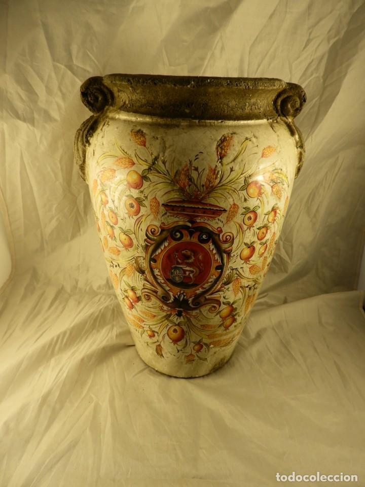 Antigüedades: JARRON DE TERRACOTA VIDRIADA CON ADORNOS DE ESPIGAS - Foto 4 - 251120800