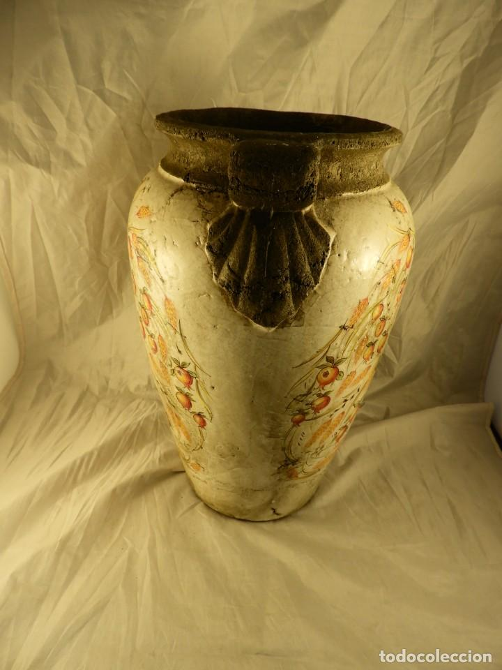 Antigüedades: JARRON DE TERRACOTA VIDRIADA CON ADORNOS DE ESPIGAS - Foto 5 - 251120800
