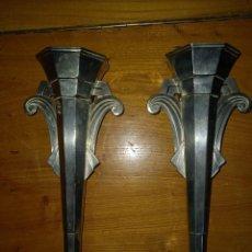 Antigüedades: 2 JARRONES DE METAL PARA CAPILLA DE 30 CM SIGLO XIX. Lote 226865085