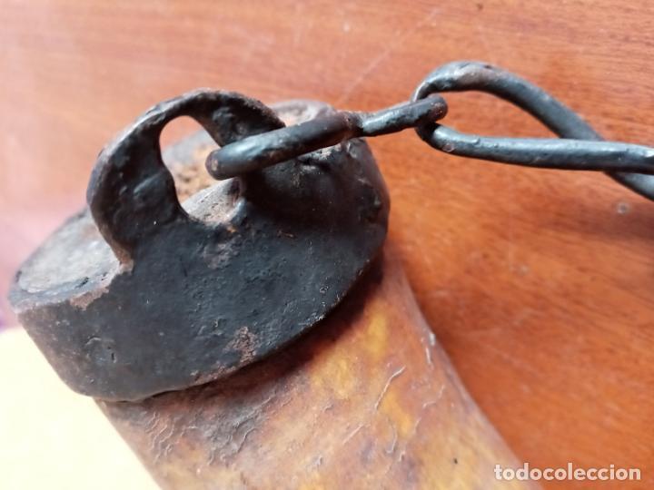 Antigüedades: Recipiente de asta- cuerno y hierro forjado- arte pastoril - Foto 4 - 226869000