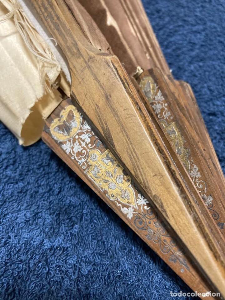 Antigüedades: Abanico grande antiguo seda pintado a mano para restaurar - Foto 8 - 226903522