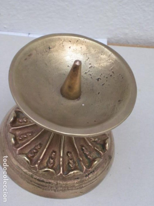 Antigüedades: Candelabro bronce. 420gr. - Foto 5 - 226953045