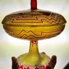 Antigüedades: COPA - BOMBONERA ART DÉCO. CRISTAL GRABADO Y ESMALTADO. ESPAÑ. CIRCA 1920. Lote 226979280