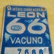 Antigüedades: MATRÍCULA CARRO DE VACAS BOVINO 1966 GALLAECIA. Lote 227049035
