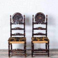 Antigüedades: PAREJA DE SILLAS ANTIGUAS ESTILO CASTELLANO. Lote 227050150