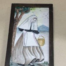 Oggetti Antichi: BALDOSA PINTADA A MANO STA. CATALINA TOMAS FIRMADA ACH. Lote 227052865