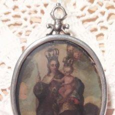 Antigüedades: GRAN RELICARIO DE PLATA PINTADO A DOS CARAS. VIRGEN DEL CARMEN Y DOLOROSA. 8X5 CM.. Lote 227102390