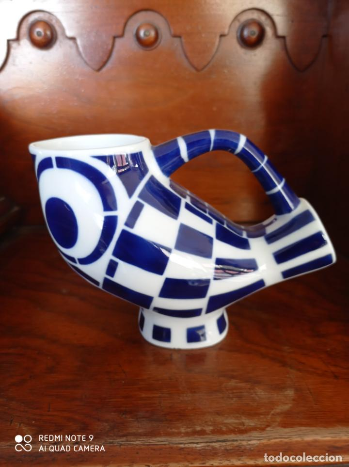 BUHO AZUL DE SARGADELOS, 15,50 X 10 CMS. VER FOTOS (Antigüedades - Porcelanas y Cerámicas - Sargadelos)