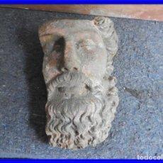 Antigüedades: DECORATIVA CARA ANTIGUA DE HIERRO ENVEJECIDO. Lote 227190680