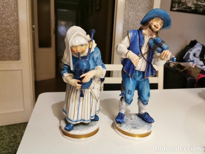 FIGURAS PAREJA MUSICOS (ALGORA) (Antigüedades - Porcelanas y Cerámicas - Algora)