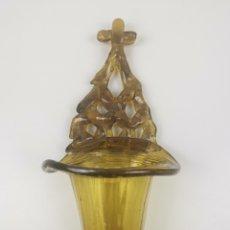Antigüedades: BENDITERA / PILA DE CRISTAL SOPLADO CATALÁN O MALLORQUÍN S. XIX. 25 CM. Lote 227238650