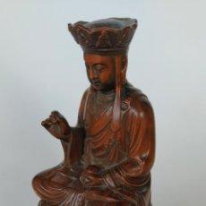 Antigüedades: ANTIGUA Y MAGNÍFICA OBRA DE ARTE, FIGURA MADERA TALLADA A MANO ORIENTAL. Lote 227476990