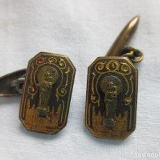 Antigüedades: GEMELOS DAMASQUINADOS DE LA VIRGEN DEL PILAR. Lote 227488170