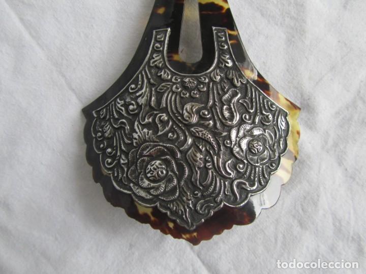Antigüedades: Preciosa peineta de carey con relieves de plata - Foto 3 - 227604710