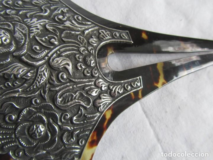 Antigüedades: Preciosa peineta de carey con relieves de plata - Foto 5 - 227604710