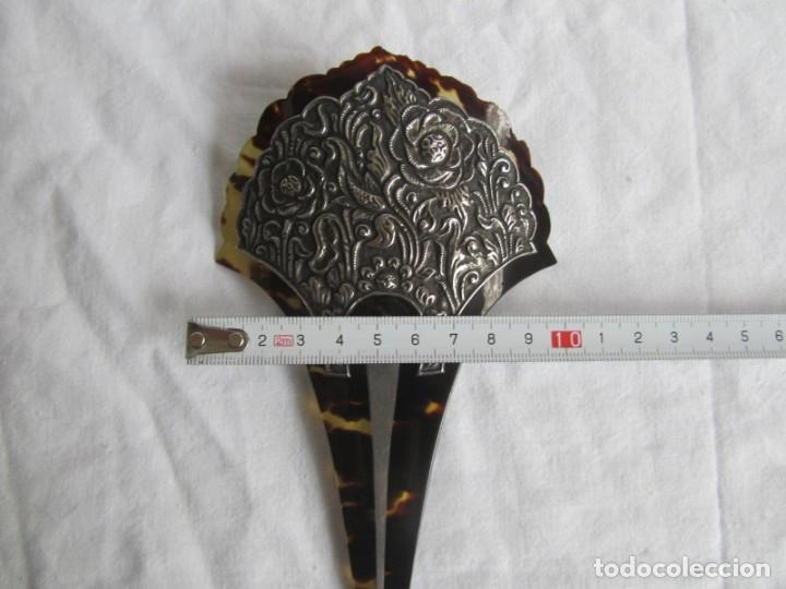Antigüedades: Preciosa peineta de carey con relieves de plata - Foto 9 - 227604710