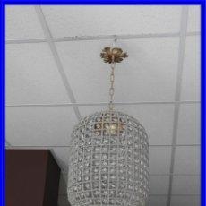 Antigüedades: LAMPARA DE CRISTALES Y BRONCE CON FORMA CILINDRICA. Lote 227653719