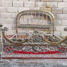 Antigüedades: CAMA ANTIGUA DE BRONCE DORADA ESTILO MODERNISTA. CAMA ANTIGUA VINTAGE ESTILO ISABELINO LUIS XV.. Lote 227762902