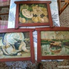 Antigüedades: 3 ANTIGUOS CUADROS CON MARCOS MODERNISTAS DE MADERA LAMINAS BODEGONES MIDEN 54/32 EL HUECO 40/30,5. Lote 227774015