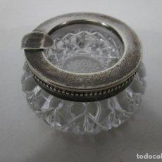 Antigüedades: CENICERO - PLATA DE LEY, CON CONTRASTES - CRISTAL TALLADO, BOHEMIA. Lote 227794928