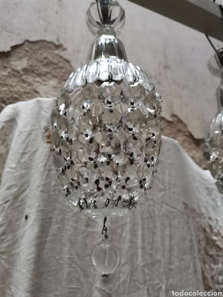 Antigüedades: 2 lamparas de cuentas de cristal tallado finales del xix - Foto 3 - 227900295