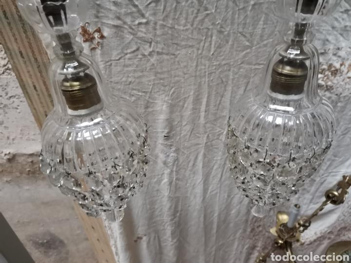 Antigüedades: 2 lamparas de cuentas de cristal tallado finales del xix - Foto 5 - 227900295