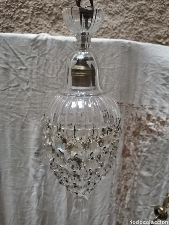 2 LAMPARAS DE CUENTAS DE CRISTAL TALLADO FINALES DEL XIX (Antigüedades - Iluminación - Lámparas Antiguas)