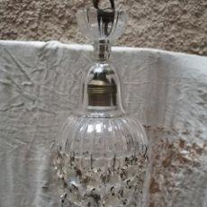 Antigüedades: 2 LAMPARAS DE CUENTAS DE CRISTAL TALLADO FINALES DEL XIX. Lote 227900295