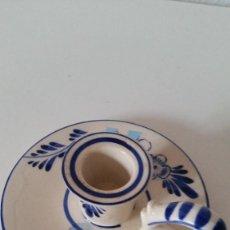 Antigüedades: ANTIGUIO PORTA VELAS HECHO Y PINTADO A MANO PORCELANA HAND PAINTED,DELEF BLUE HOLLAND. Lote 227957840
