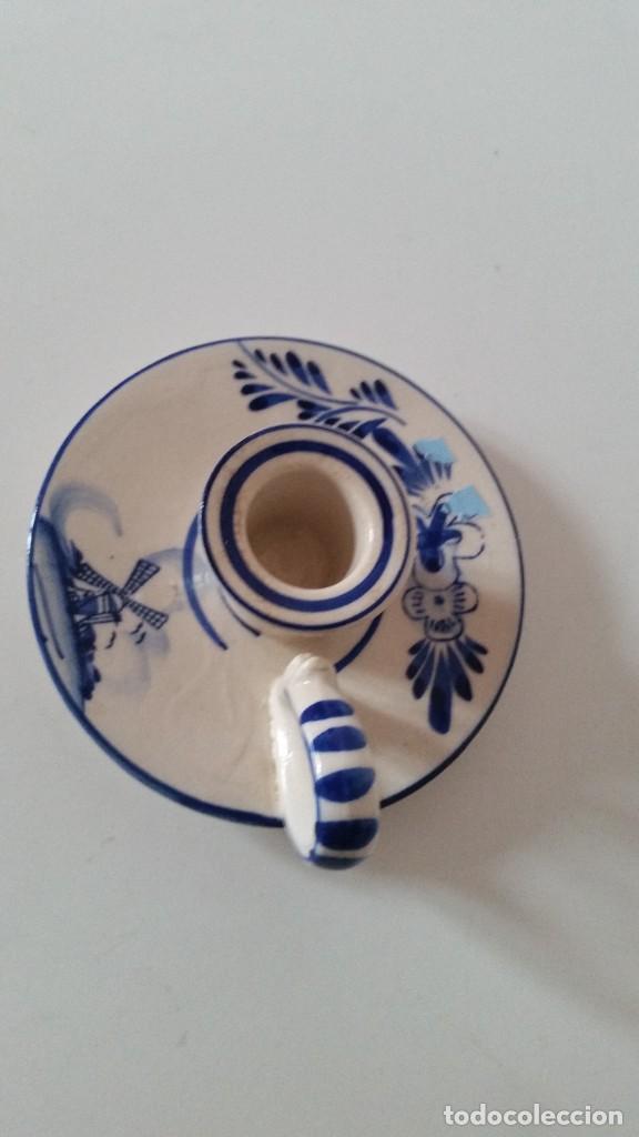 Antigüedades: ANTIGUIO PORTA VELAS HECHO Y PINTADO A MANO PORCELANA HAND PAINTED,DELEF BLUE HOLLAND - Foto 4 - 227957840