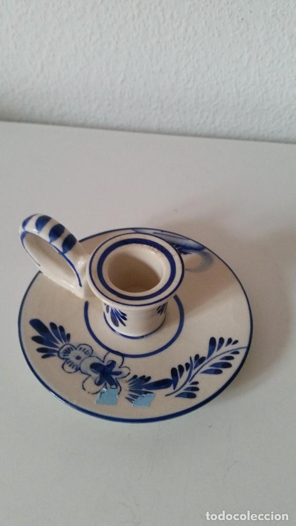 Antigüedades: ANTIGUIO PORTA VELAS HECHO Y PINTADO A MANO PORCELANA HAND PAINTED,DELEF BLUE HOLLAND - Foto 5 - 227957840