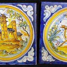 Antigüedades: 2 AZULEJOS CIERVO Y CASTILLO PINTADOS A MANO DE TALAVERA. Lote 227961905
